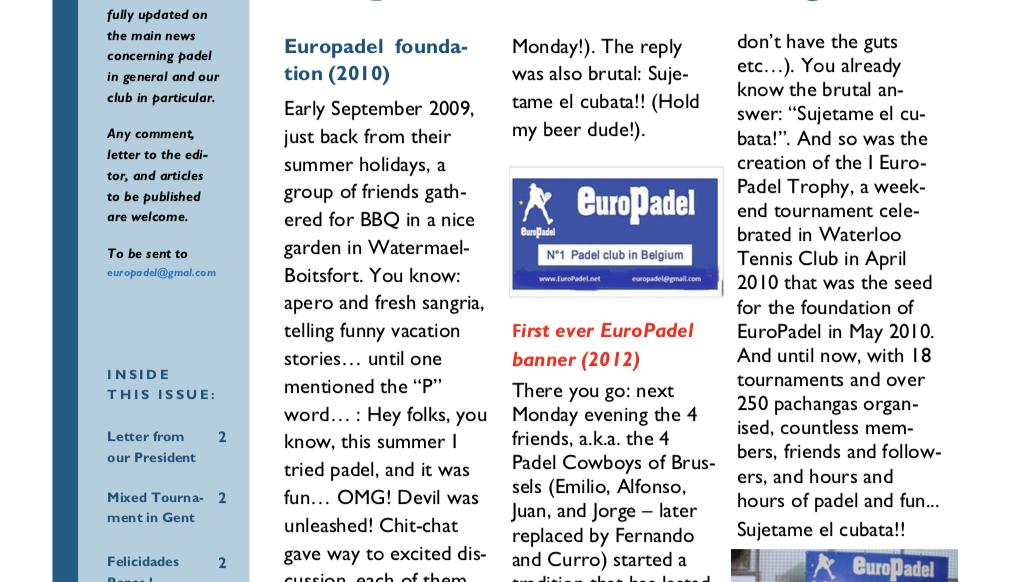 EuroPadel Newsletter | Volume 1, Issue 1 | May 2019