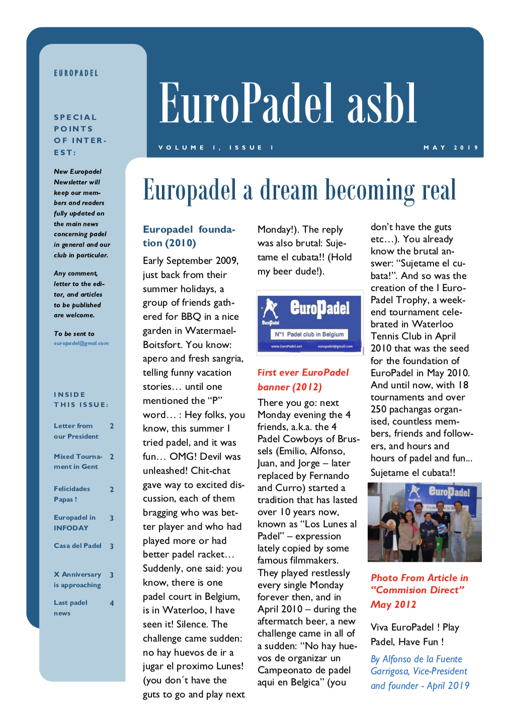 EuroPadel Newsletter | Volume 1, Issue 1 | May 2019