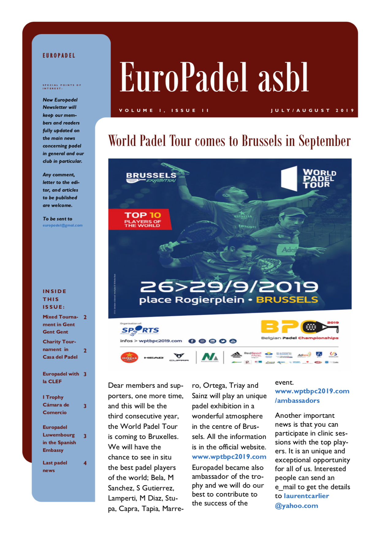 EuroPadel Newsletter | Volume 1, Issue 2 | July-August 2019